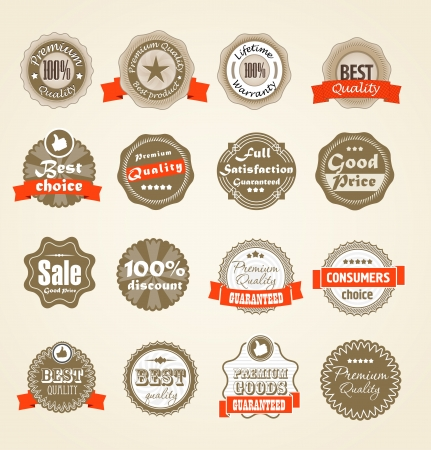Shopping labels collection  Premium quality, Satisfaction etc Stock Vector - 13905963