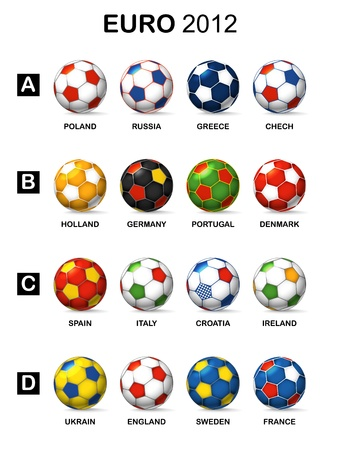 Color balls of national football teams of Euro 2012 Stock Photo - 13905979