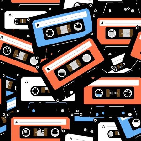 Vintage analogue music recordable cassettes  seamless background Vector