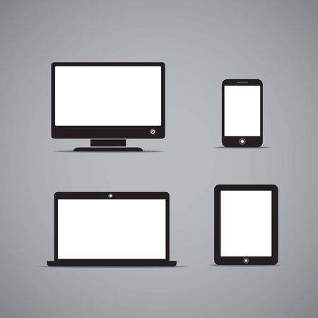 Abstract style modern gadgets with blank screen  Template for any content Vector