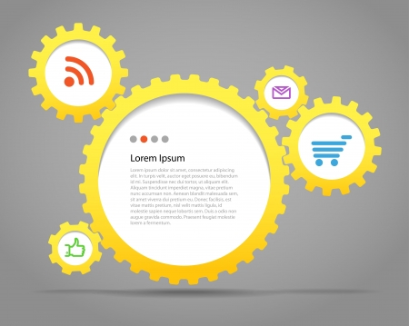 dag: Abstract speech clouds of gear wheels with media icons  Template for a text