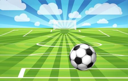Soccer ball lying on the grass of the game field Stock Vector - 13998532