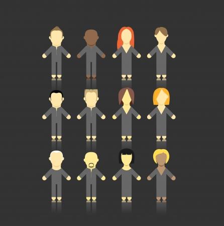 Set of men and women abstract figures   Vector