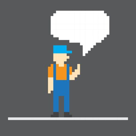 Pixel worker with speech cloud  Template foe a text Vector