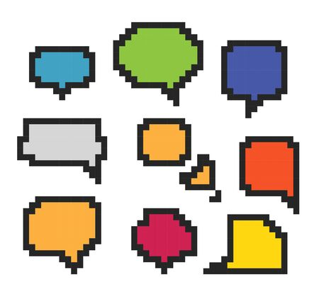 pixelart: Color abstract speech clouds   Template for a text Illustration