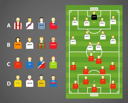 offside: Game scheme with collection of football players