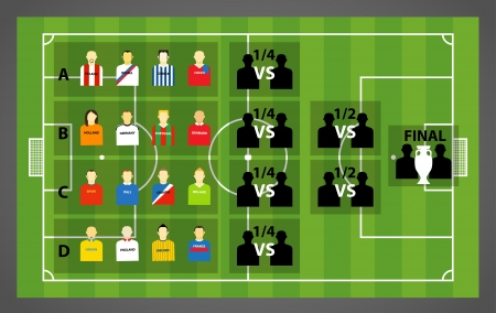 touchline: Euro 2012 tournament scheme on soccer  football  green field  Illustration
