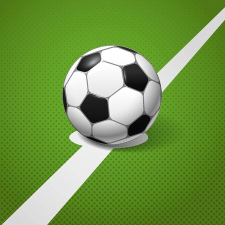 Soccer ball lying on the center of the game field Vector