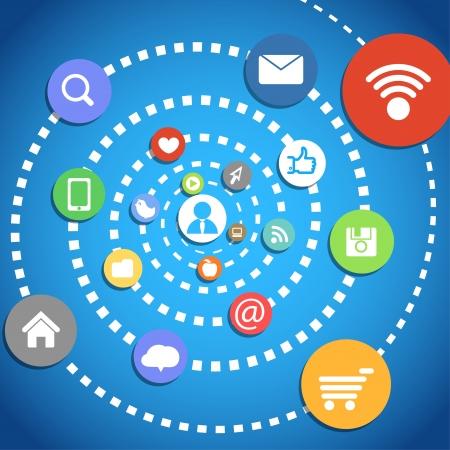 interaccion social: Composici�n abstracta con los iconos de los medios de comunicaci�n Vectores