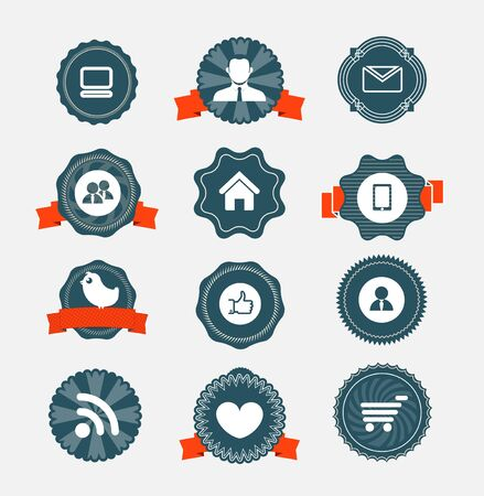 home shopping: Modern computer icons on vintage labels collection