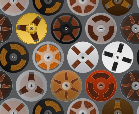 compact cassette: Vintage analogue music recordable babin  seamless background Illustration