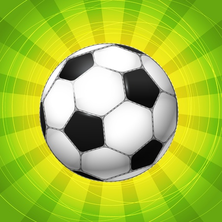 Classic Soccer ball glowing with the rays  vector illustration Vector