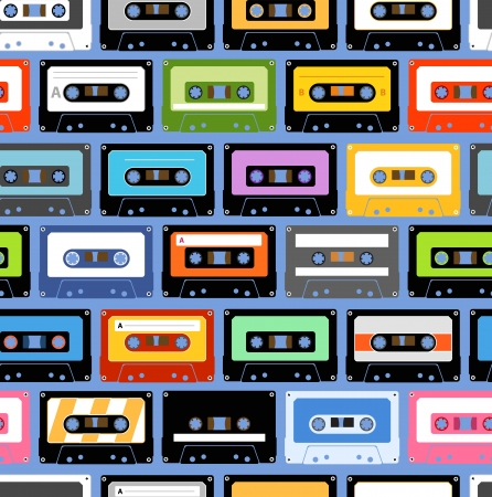 retro music: Vintage analogue music recordable cassettes  Seamless background