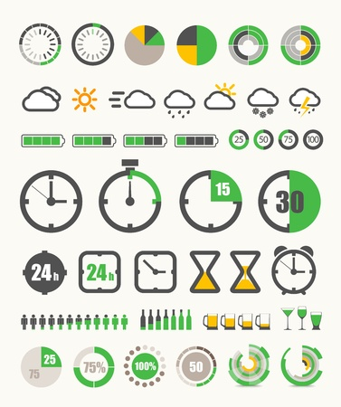 hour glasses: Different indicators collection Illustration