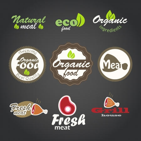 Eco and fresh food products stickers Vector