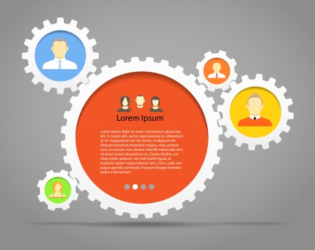 gear wheels: Abstract speech clouds of gear wheels with person icons  Template for a text