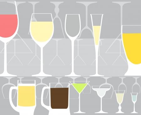 vin chaud: Collecte du verre plein et le vide