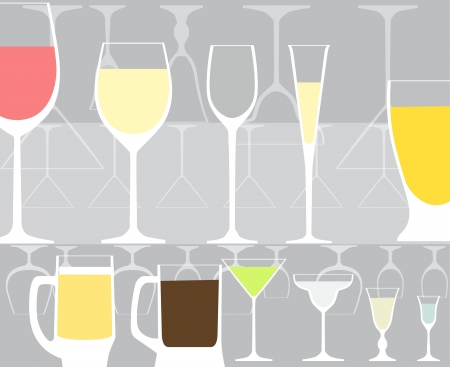 wine glass: Full and empty glass collection Illustration