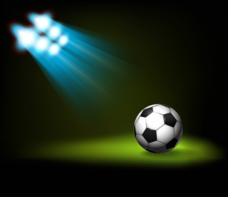 reflector: Bright spot lights and illuminated soccer  football  ball  Template for a content
