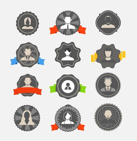 Modern avater icons on vintage labels collection Vector