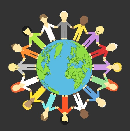 People holding hands around the earth Vector
