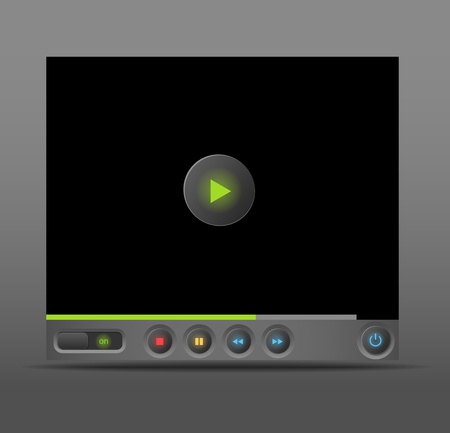Web player for social media sites with glowing buttons Vector