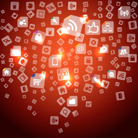 it technology: Modern social abstract media icons falling down
