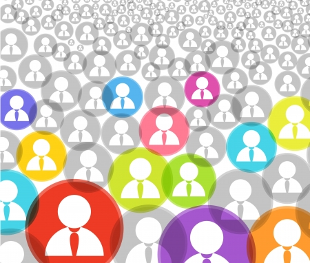 community work: Abstract crowd of social media account icons