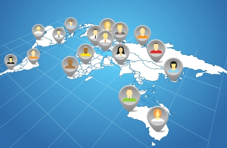Social network abstract scheme on the Earth map in perspective Vector