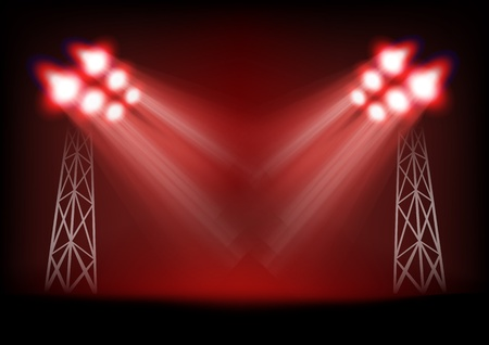 Bright stage with light masts  Template for a content Vector