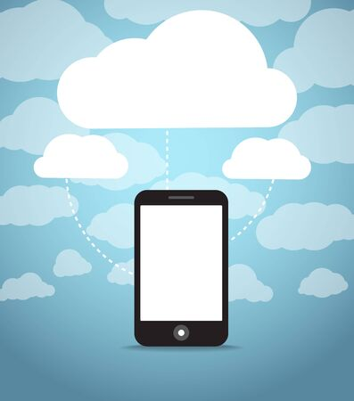 Abstract style modern phone with media clouds  Template for any content Stock Vector - 14210750