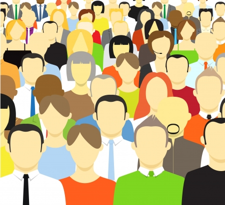 The crowd of abstract people  Vector illustration Иллюстрация