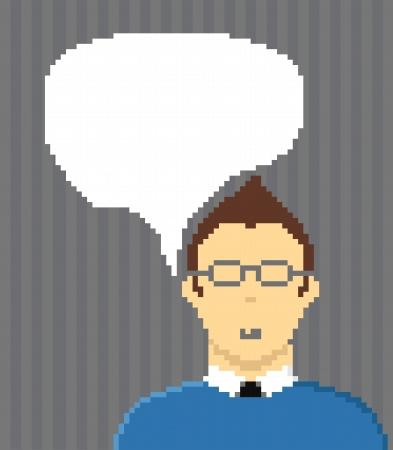 foe: Pixel style businessman with speech cloud  Template foe a text Illustration