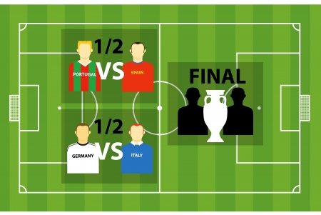 crossbars: Euro 2012 tournament scheme on soccer (football) green field. Vector template