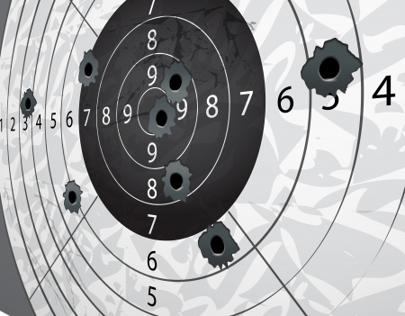pistole: Gun s fori di proiettile su un bersaglio di carta in prospettiva