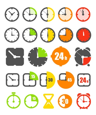 sand timer: Different color timer icons collection isolated on white