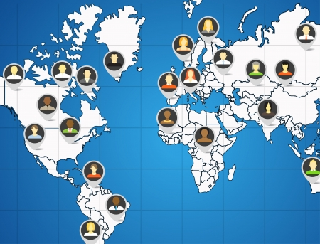 comunity: Social network abstract scheme on the Earth map