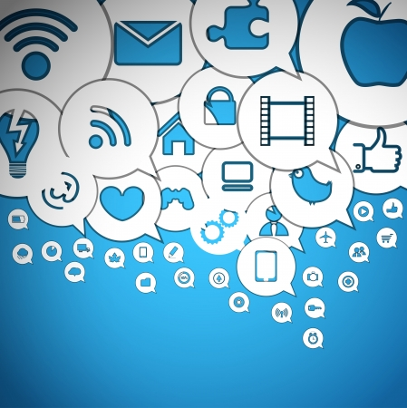 social networks: Media icons in abstract speech clouds