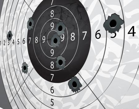 tiro al blanco: Pistola de bala s agujeros en blanco de papel en la perspectiva