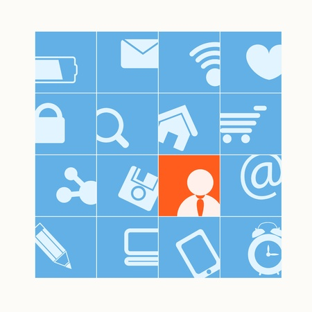 Modern social media buttons  One of them is selected Vector