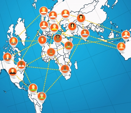 Social network abstract scheme on the Earth map Vector