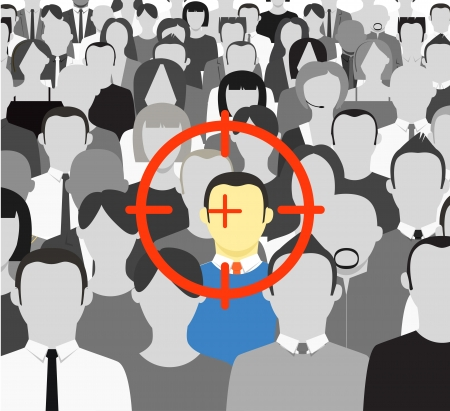 The crowd of grey people and the target on color man Stock Vector - 14392982