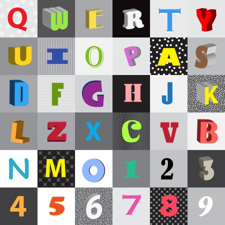 Set of vector letters in color squares Vector