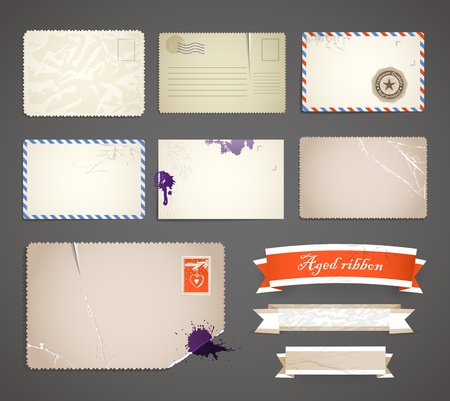 airmail: Vintage postcard and ribbons templates collection