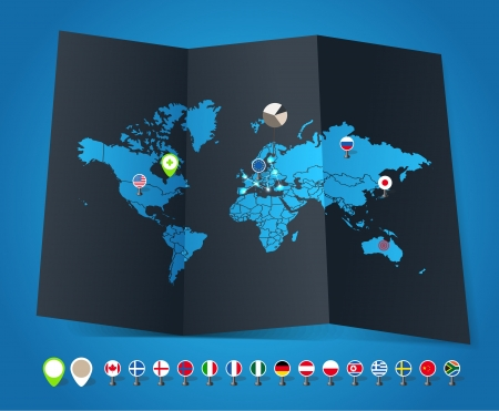 world group: World map on old map and flags of different countries and symbols, flags