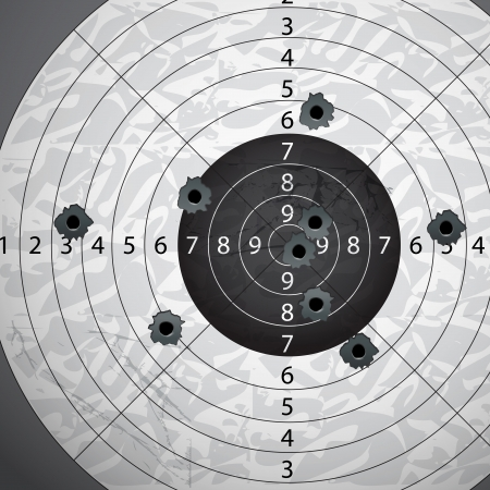 shooting gun: Gun bullet s holes on paper target