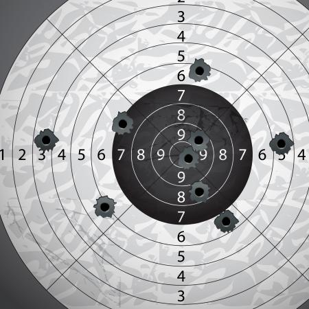tiro al blanco: Pistola de bala s agujeros en blanco de papel Vectores