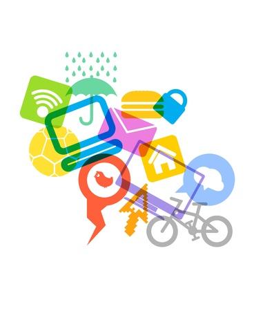 multiplicar: Color de la basura de los iconos de los medios de comunicación modernos Vectores