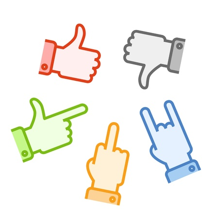 Silhouettes of different color hand gestures isolated on white background Stock Vector - 14473104