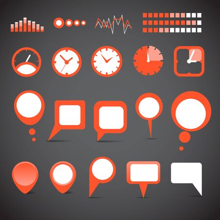 Different indicator icons and speech clouds collection  Vector